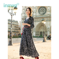 INMAN 2019 Spring New Arrival V neck Retro Literary Floral print Defined waist Slim Loose Women A ling Long Dress