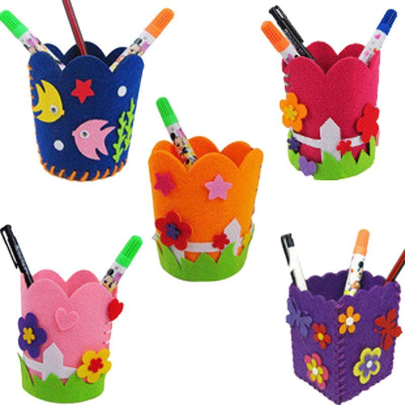 DIY Craft Kit Kids Handmade Pencil Holder Toy Children Creative DIY Craft Kits Handwork Pen Container Toys Kids Educational Toy