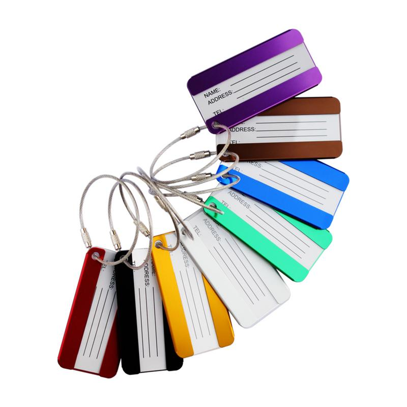 8 Pieces A Set Metal Luggage Tags Aluminum Alloy Tag For Travel Luggage Identifier Suitcase Bag Labels Travelling Accessoires