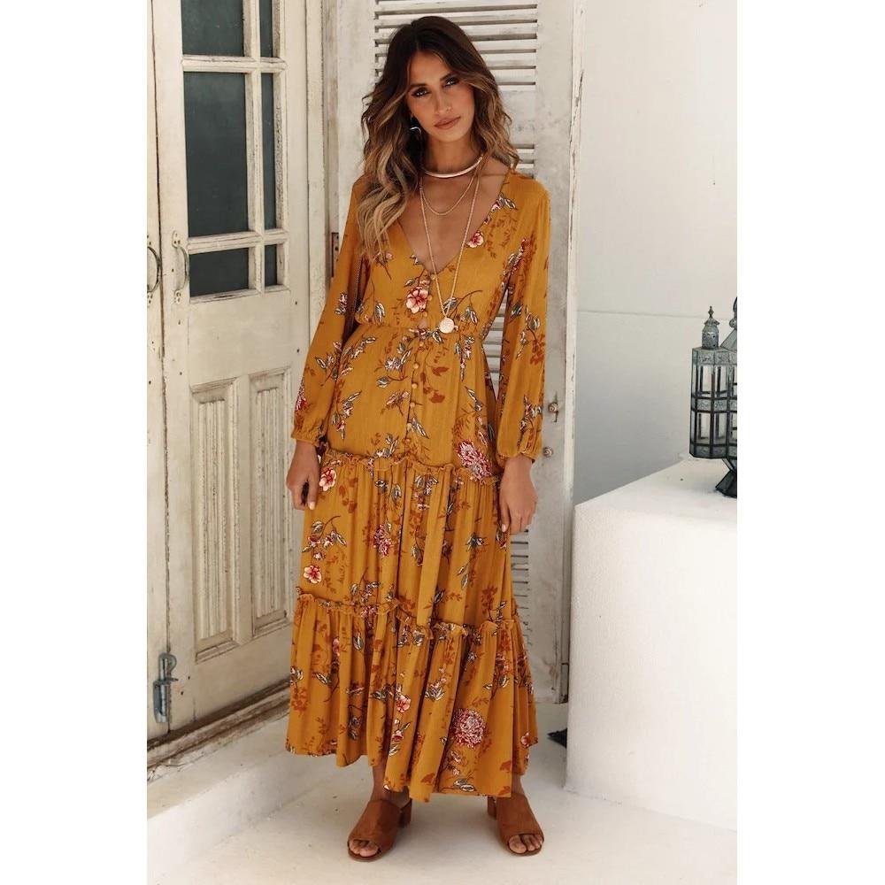 Women Long Maxi Dresses Bohemia V-neck Three Quarter Sleeve Floral Print Ethnic autumn Beach Female Stylish Style boho Dress