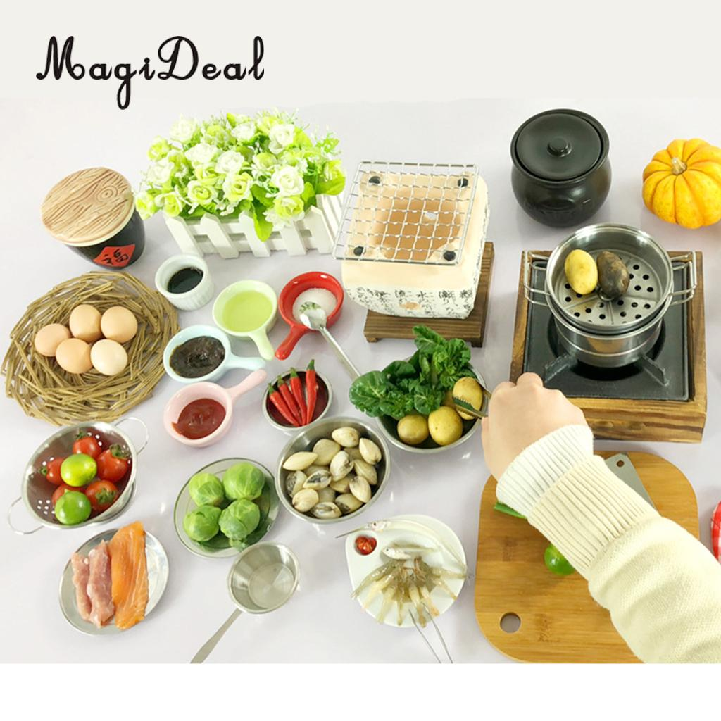 Miniature Japanese Food Play Kitchen Cookware Stove Bowl Chopping Board Kits Cooking Utensils Kids Pretend Play Toy -15pcs square chopping board