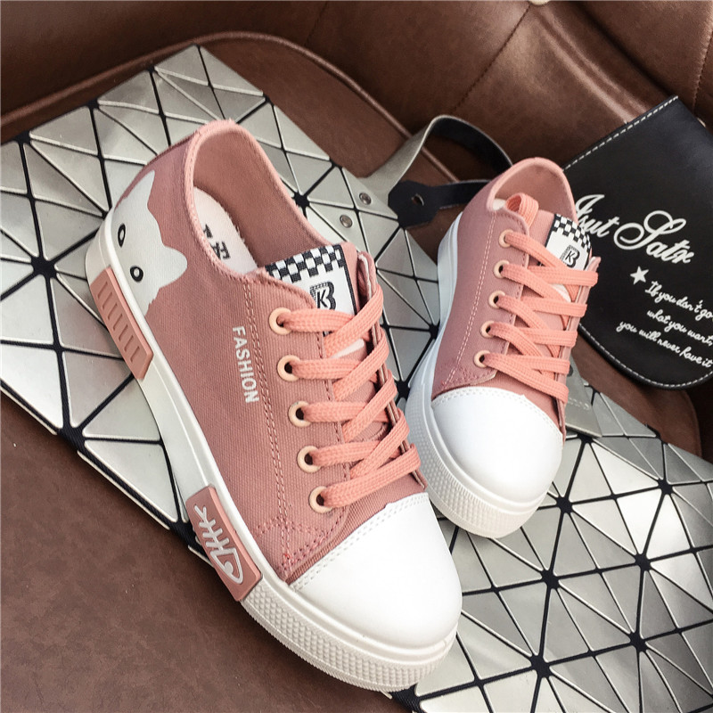 Canvas Shoes Sneakers Animal Comfortable Flat White Casual Cartoon Summer New Cute Lace