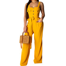 Summer Sleeveless Buttons Belt Sexy Jumpsuit Women Elegant Wide Leg Playsuit Casual Lady Vintage Overalls
