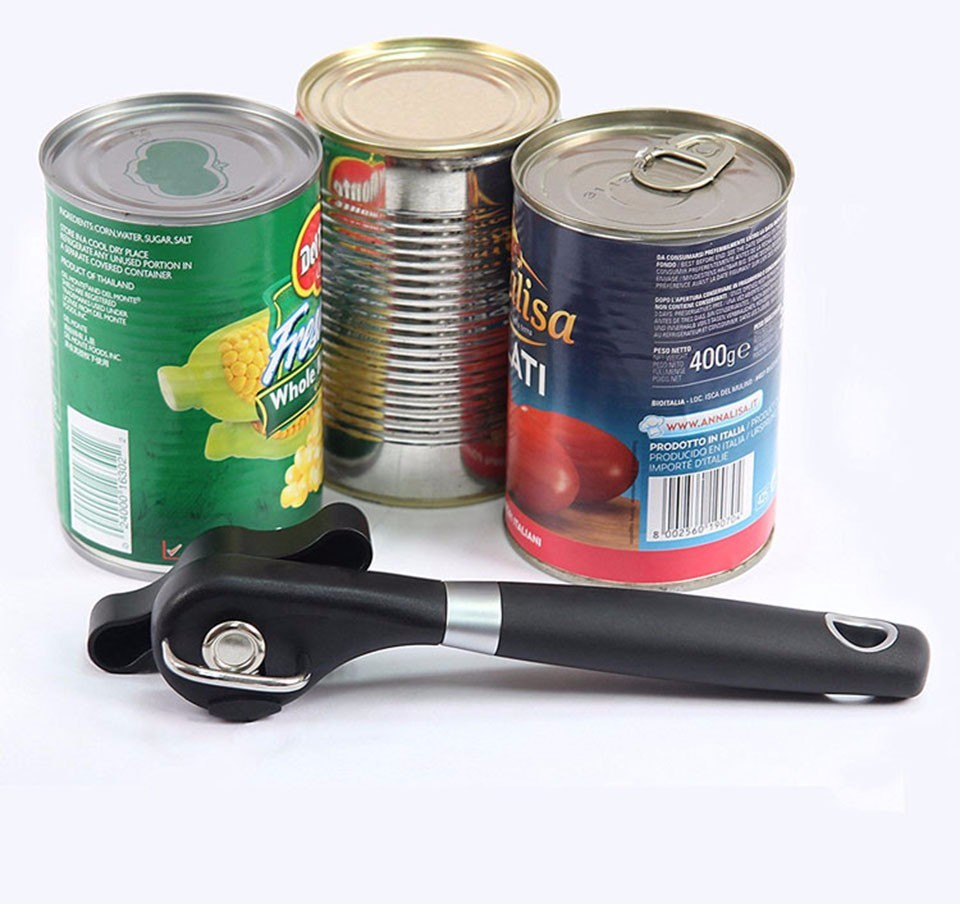 1pc Can Opener Plastic Professional Kitchen Tool Safety Hand-actuated Side Cut Easy Grip Manual Opener Knife For Cans Lid