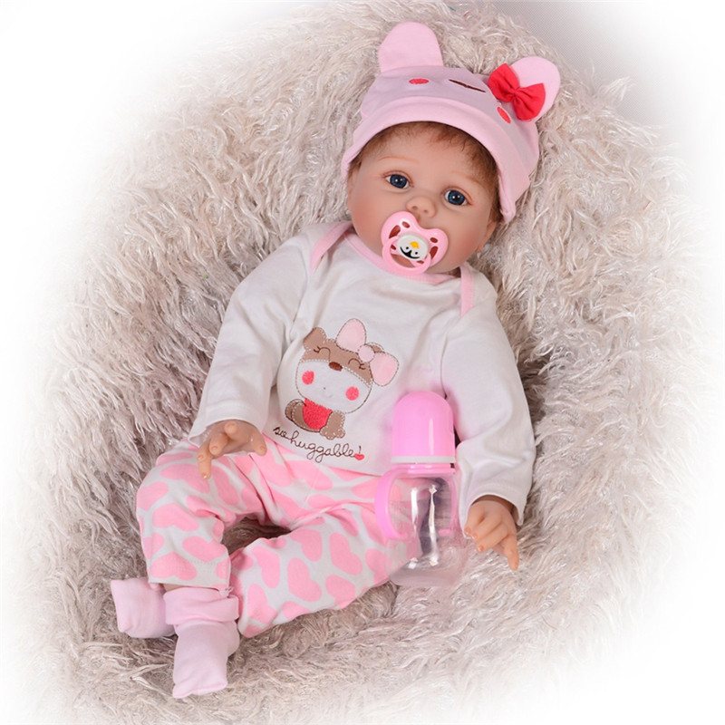55cm Soft Silicone Vinyl Reborn Baby Dolls For Girls Realistic Rooted Mohair Bebe Reborn Doll Girls