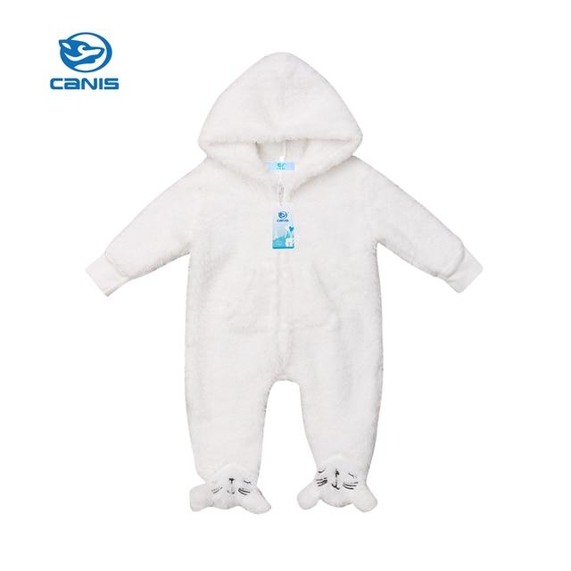 95e8e85c1 Winter Autumn Cute Warm Romper Newborn Baby Boy Girl Fuzzy Hooded White  Zipper Jumpsuit Outfits Set