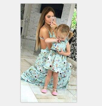 138014f00 Mamá y yo vestidos de flores de impresión sin respaldo cabestrillo vestido  de madre e hija 2019 nuevo bebé y mamá de las niñas vestido de ropa