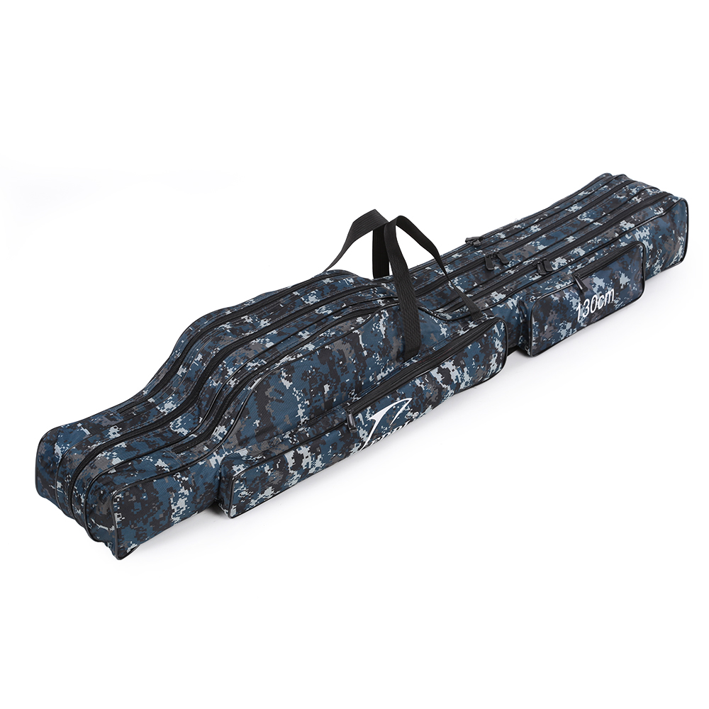 Portable Folding Fishing Rod Carrier Canvas Fishing Pole Tools Storage Bag Case Fishing Gear Tackle