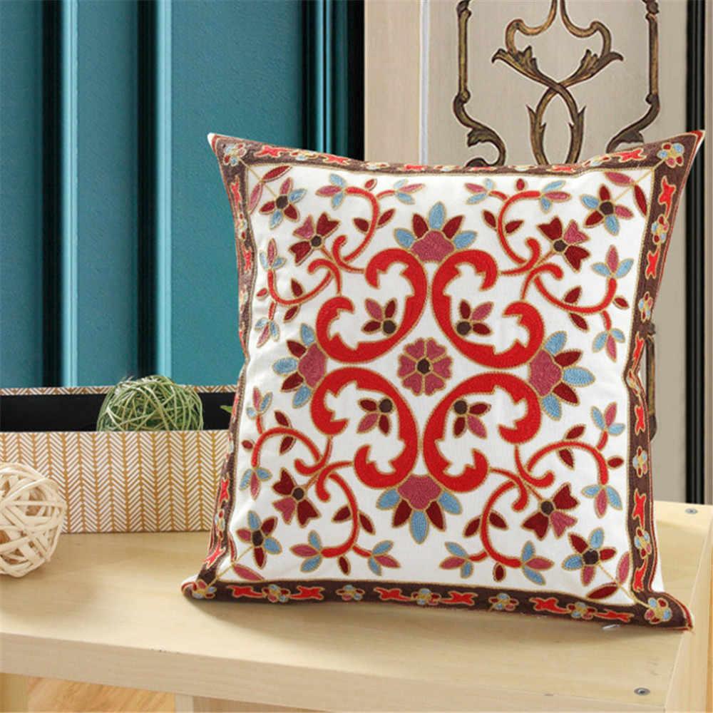 Koło koła wzorzysty haft bawełna lniana poszewka na poduszkę geometryczna poszewka na poduszkę na sofę poszewka na poduszkę do domu Almofada