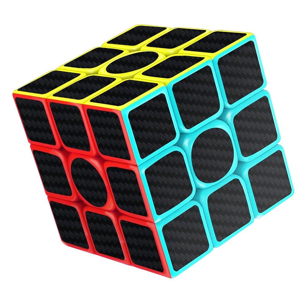 2pcs Speed Cube 2x2 3x3 Carbon Fiber Sticker Brain Training Rubiks Puzzle Cube