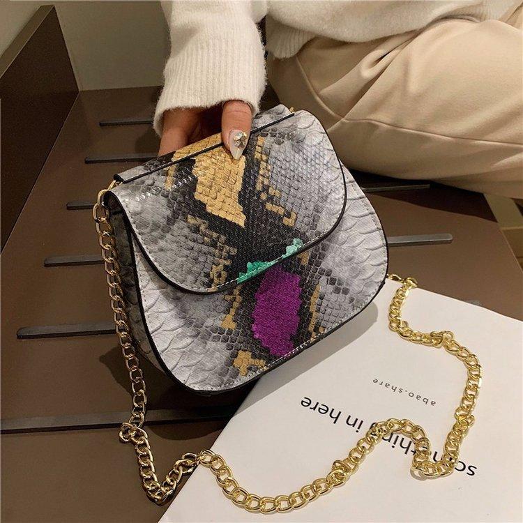 49552d66350b79 Crossbody Bag For Women Fashion Snake Skin PU Leather Shoulder Bags Female  Chain Messenger Bag Women