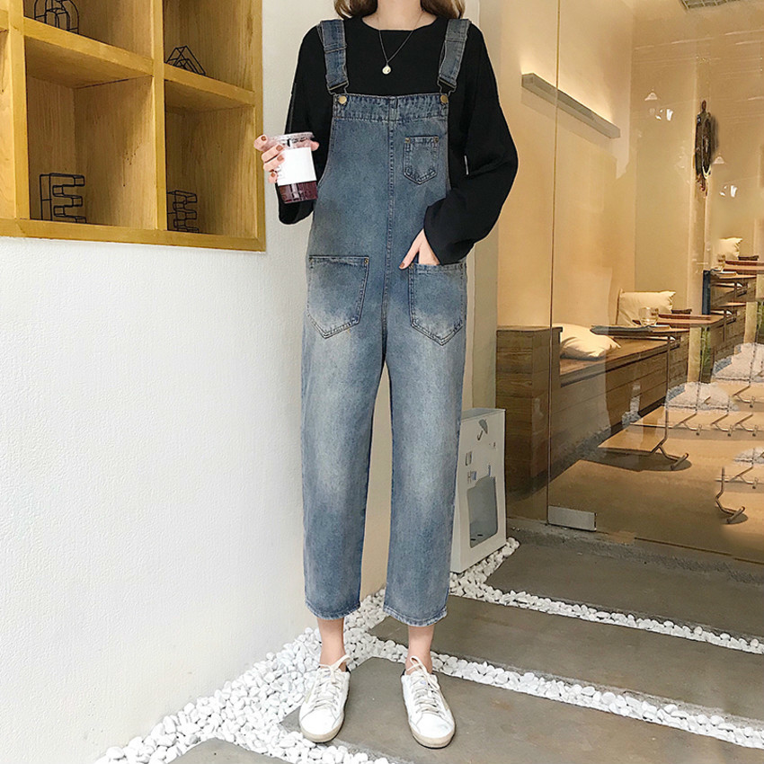 Women Washed Jeans Jumpsuit Female Wide Leg Rompers Casual Strap Basic Denim Pants Loose Fit Overalls Jeans
