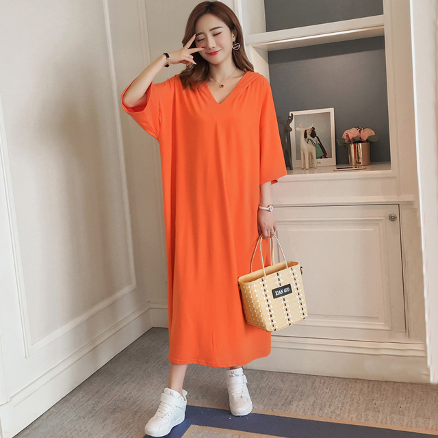 #4946 Summer Orange Cotton Hooded V-Neck Casual Short Sleeve T Shirt Dress Women Plus Size Loose Ankle-length Dresses