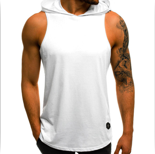 2019Men Sleeveless Hoodie   tank     top   Muscle Sweatshirt Cool Cotton Hoody Bodybuilding workout Gym vest   tank     top   men sporting Shirt