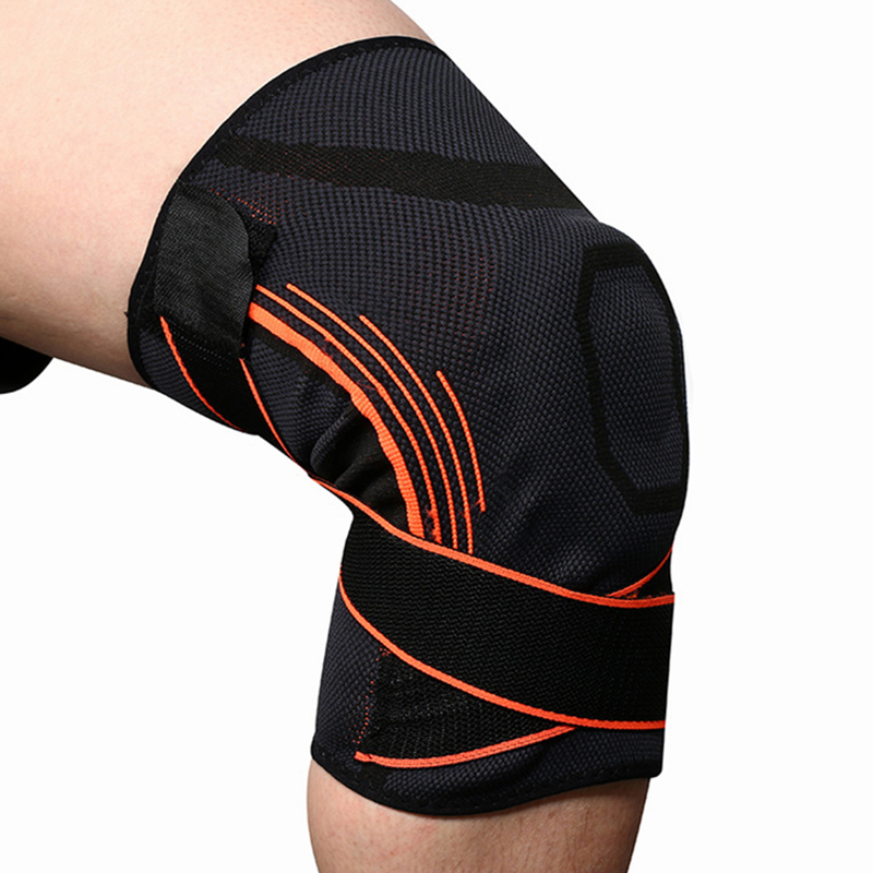 Sport Knee Brace Silicone Anti-slip Spring Strip Support Pressurization Adjustable Kneepad
