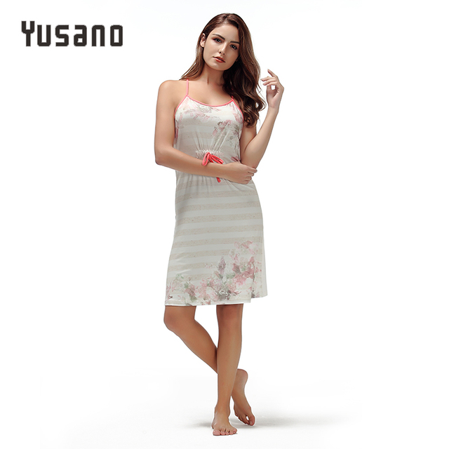 79f18098e5 Yusano Women s Nightdress Nightgown Sexy Lingerie Floral Nightshirt  Sleeveless Cami Sleepwear Dress Flora Bow Sleep Dress Female