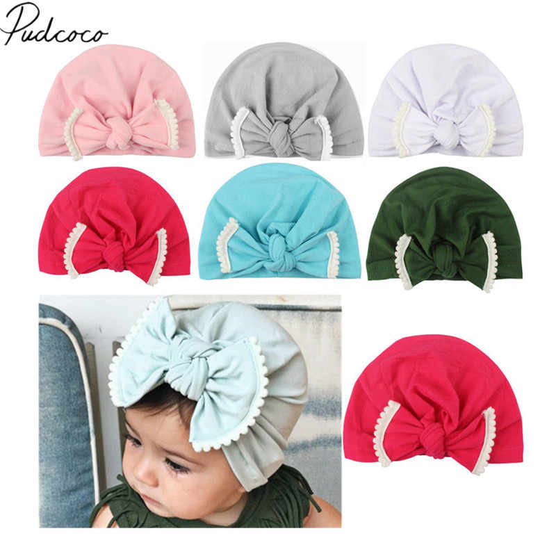 2018 Brand New Newborn Toddler Kids Baby Girls Boys Autumn Winter Hats Bowknot Solid Cotton Beanie Caps 6 Colors