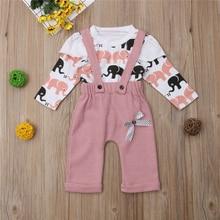 0bea26a7 2 piezas de niño niños bebé niña ropa de invierno ropa de elefantes de  dibujos animados Tops + Pantalones trajes 6-18 m 1-3Years.