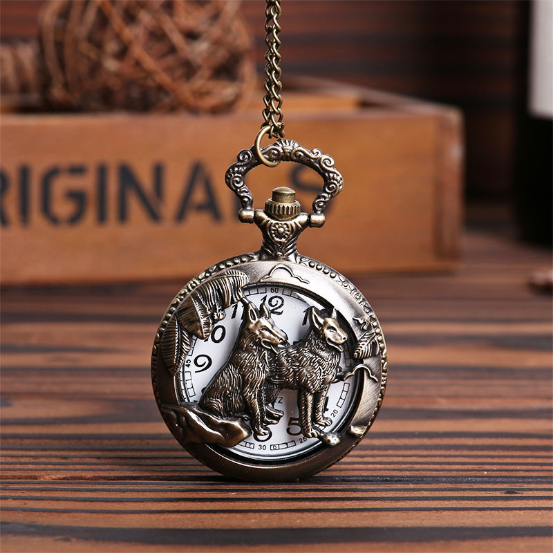 Pocket & Fob Watches Chinese Zodiac Dog Wolf Hollow Out  Quartz Pocket Watches Necklace Gift for Men/Women