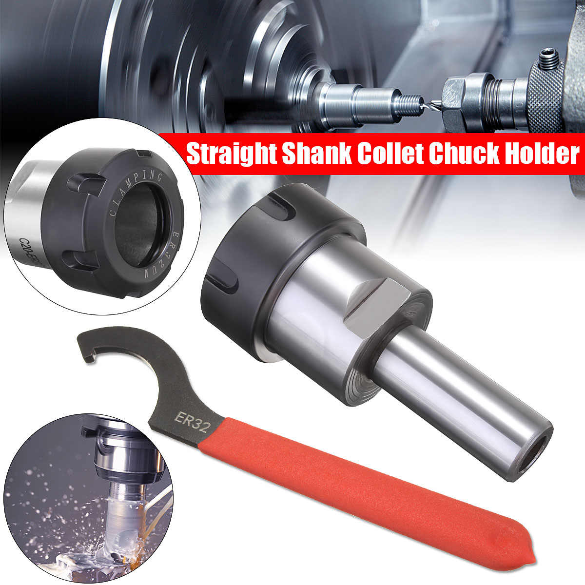 WOLIKE C20-ER32-50L CNC Arbor Straight Shank Collet Chuck Holder 20MM Diameter Tools