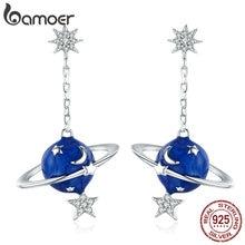 BAMOER 925 Sterling Silver Secret Planet Moon Star Drop Earrings for Women Clear Cubic Zircon Sterling Silver Jewelry BSE016