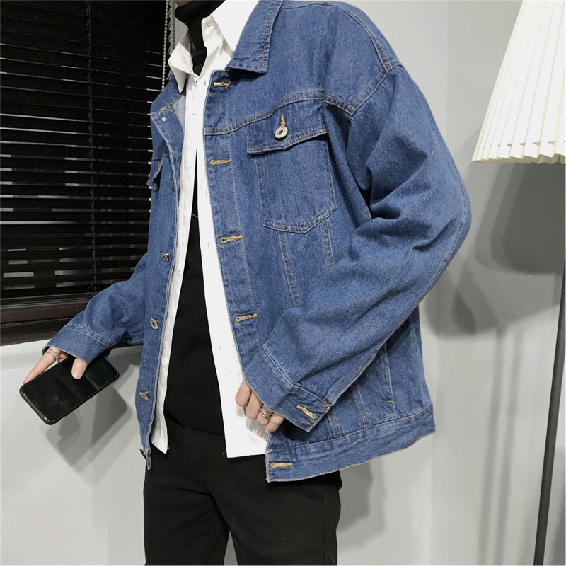 Men's Spring And Autumn New Denim Jacket M 5xl Long Sleeve Solid Color Personality Loose Temperament Youth Fashion Wild Casual