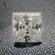 3x3 ~ 12x12mm cuadrado corte princesa suelta DEF Color blanco piedra moissanita gemas sintéticas para los juegos de boda oro blanco