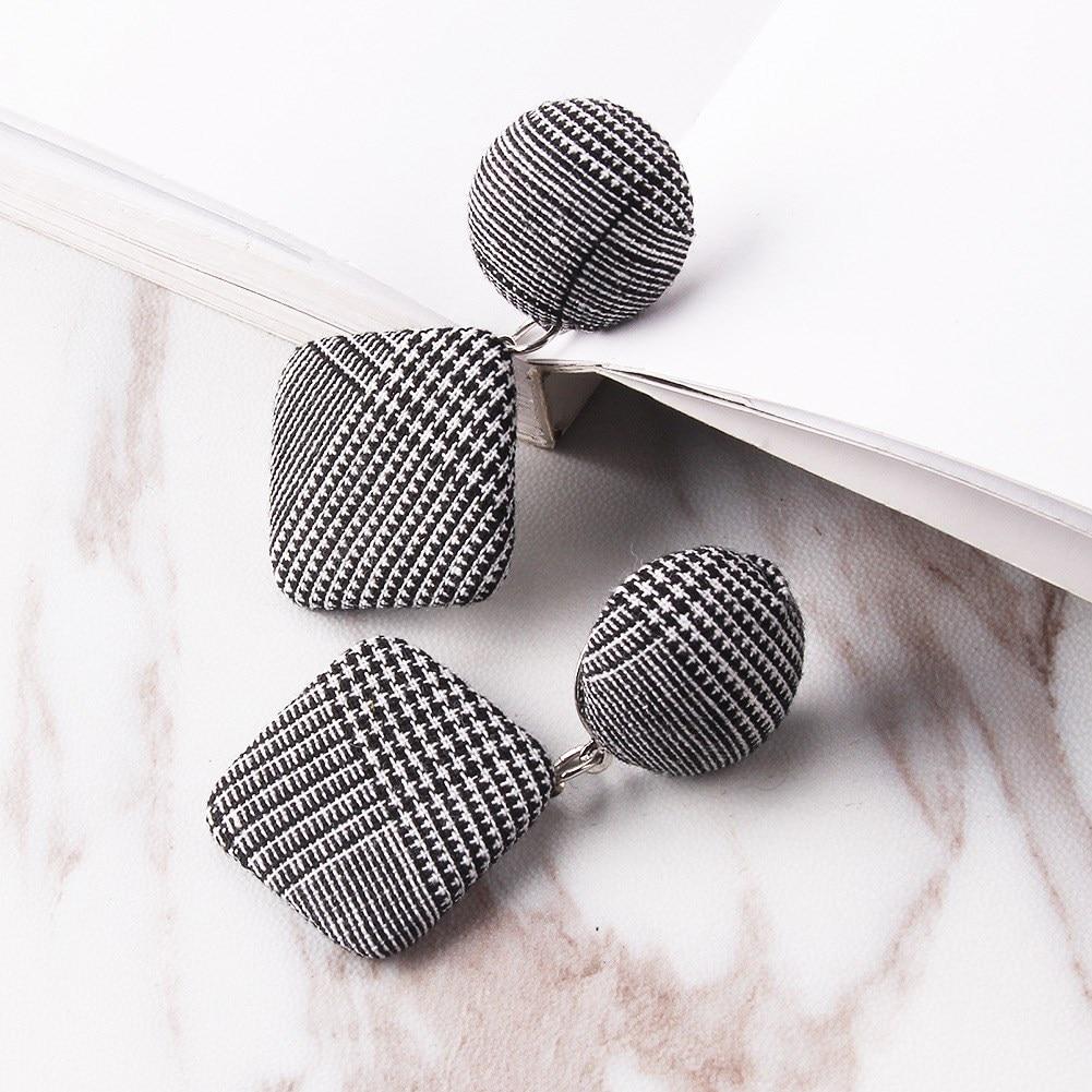2018 Vintage Black White Plaid Cotton Statement Dangle Earrings Women Geometric Circle Round Drop