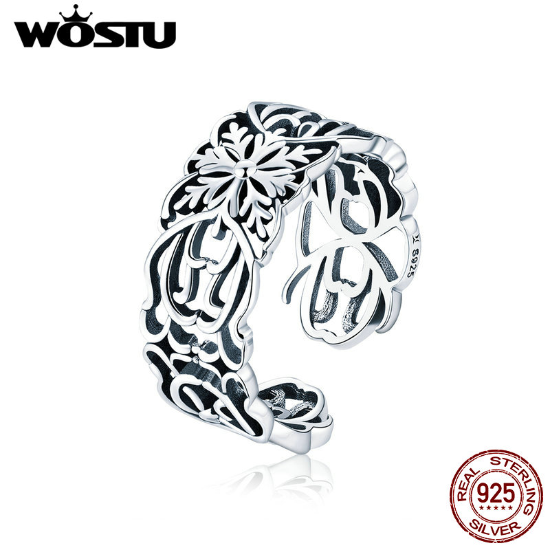 WOSTU 2019 European 925 Sterling Silver Flower Vintage Ring Finger Adjustable Size Rings For Women Party Silver Jewelry CQR500