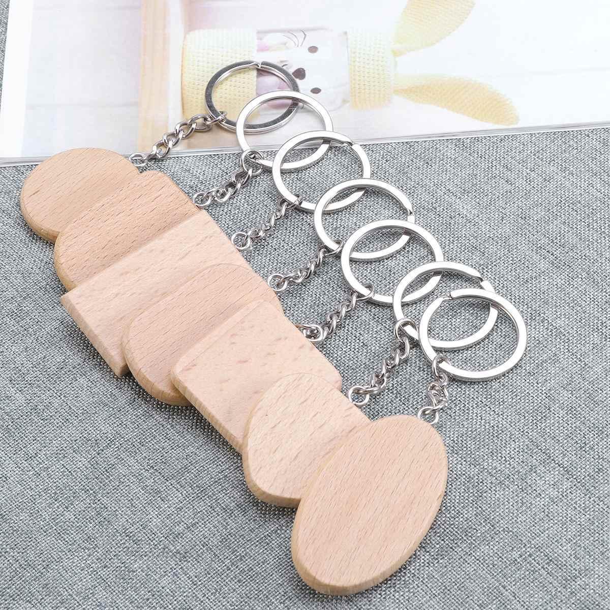 8 piunids/lote llavero de madera cadena decoración divertido DIY creativo llavero colgante llaveros regalo llaveros para hombre y mujer