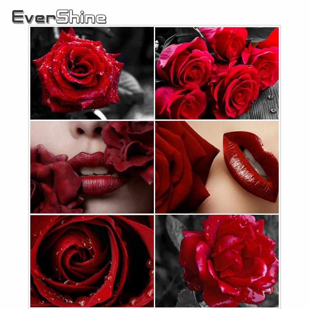 EverShine Diamond Painting Red Rose And Red Lip Diamond Embroidery Flowers Picture Of Rhinestones Handmade Art Mosaic Wall Decor
