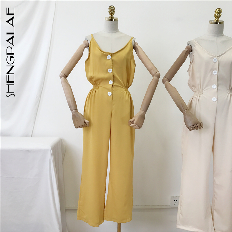 Jumpsuits Shengpalae Black Round Collar Sleeveless Rompers Yellow Korean Fashion Camisole 2019 New Summer Women Jumpsuit Tide Fn01201 Regular Tea Drinking Improves Your Health