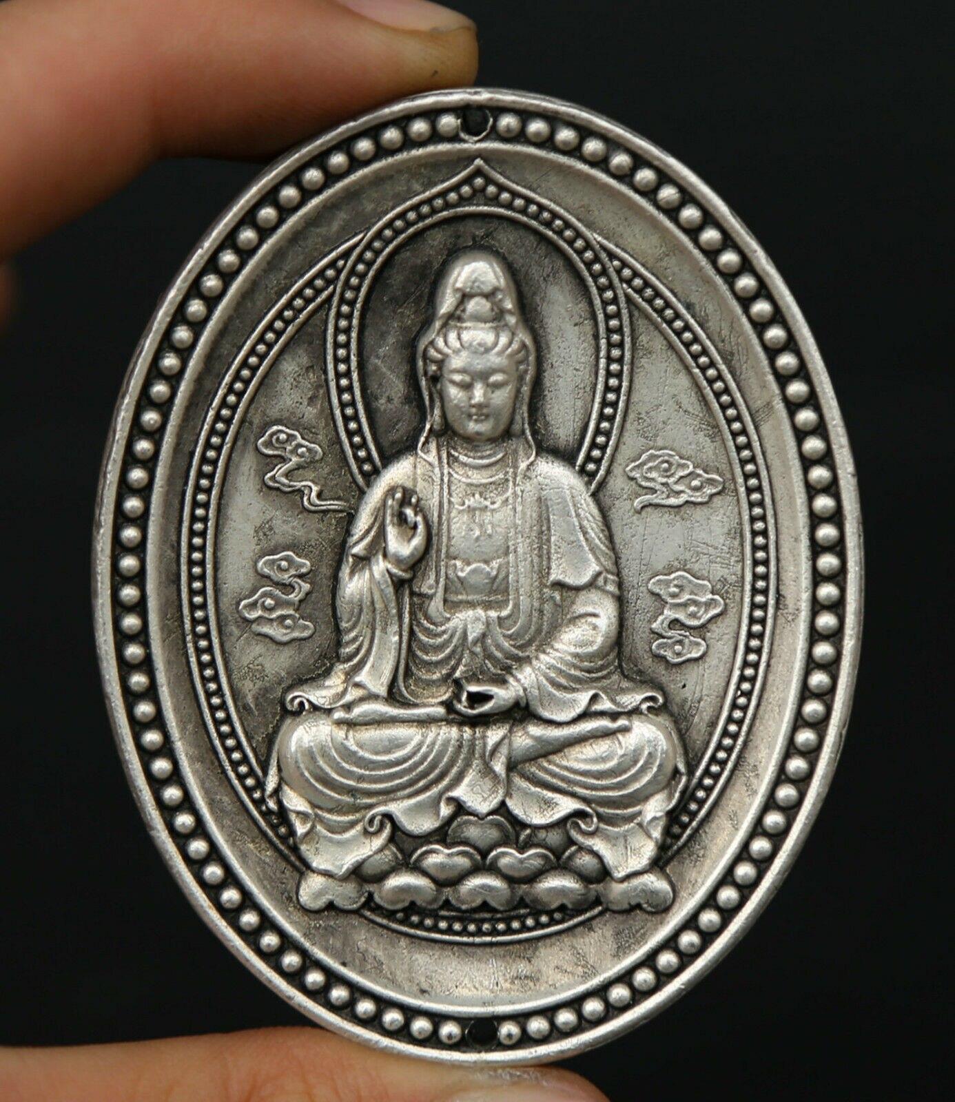 Chinese Miao Silver Buddhism Kwan-yin Guan Yin Boddhisattva Amulet Pendant