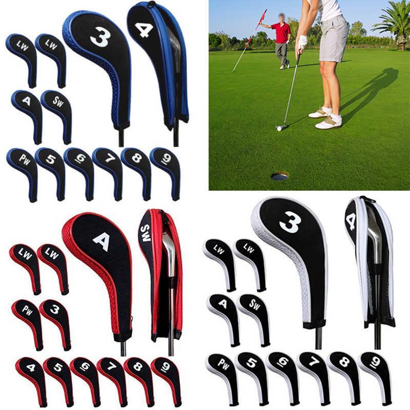 באיכות גבוהה 12 Pcs גומי Neoprene גולף ראש כיסוי מועדון גולף ברזל להתבטל להגן על סט מספר מודפס עם רוכסן ארוך צוואר