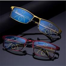 XojoX Anti Luz Azul Óculos de Leitura Homens Mulheres Liga Perto Distante  Visão Multifocal Progressiva Óculos 9dcade1011