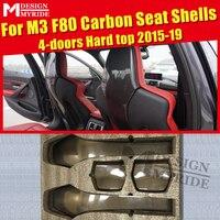 F80 Seat Shells Cover Carbon Gloss Black Interior 4pcs / 1 set For BMW M3 F80 4 doors Hard top Seat Shells Cover 420i 430i 15 19
