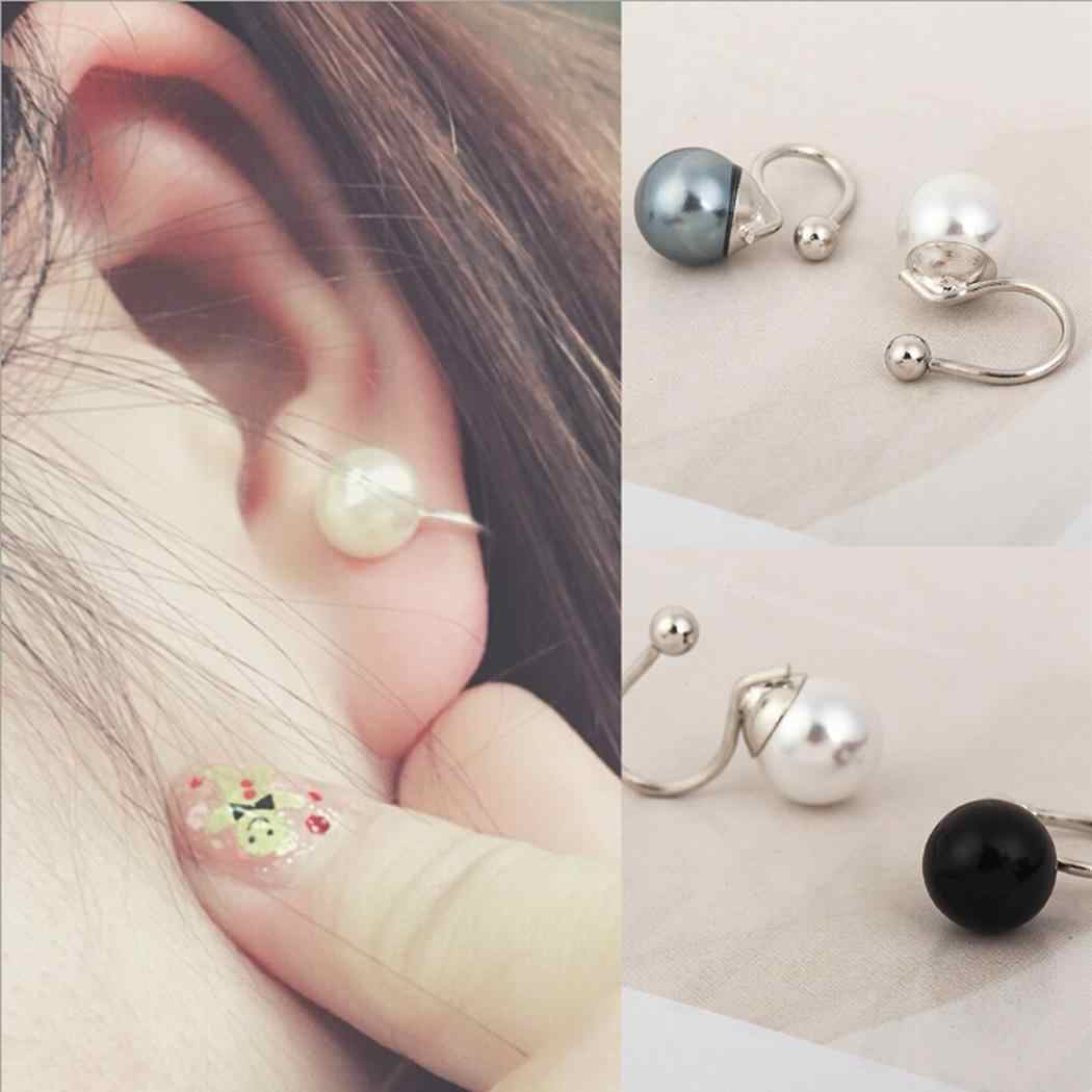 0 Artificial Black inch Gray Side 0 Earrings Casual White 7 cm U Pearl Clip One 7 Women Earrings Round 8 1 Shape