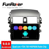FUNROVER android 9.0 2 din car dvd multimedia player For Toyota Corolla E140/150 2006 2013 radio gps navigation system navi 2.5D