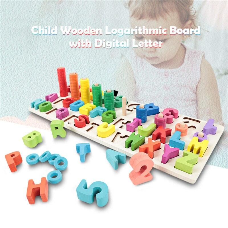 Niños de madera Montessori materiales de aprendizaje para contar números a juego de forma Digital partido educación temprana enseñanza de juguetes de matemáticas