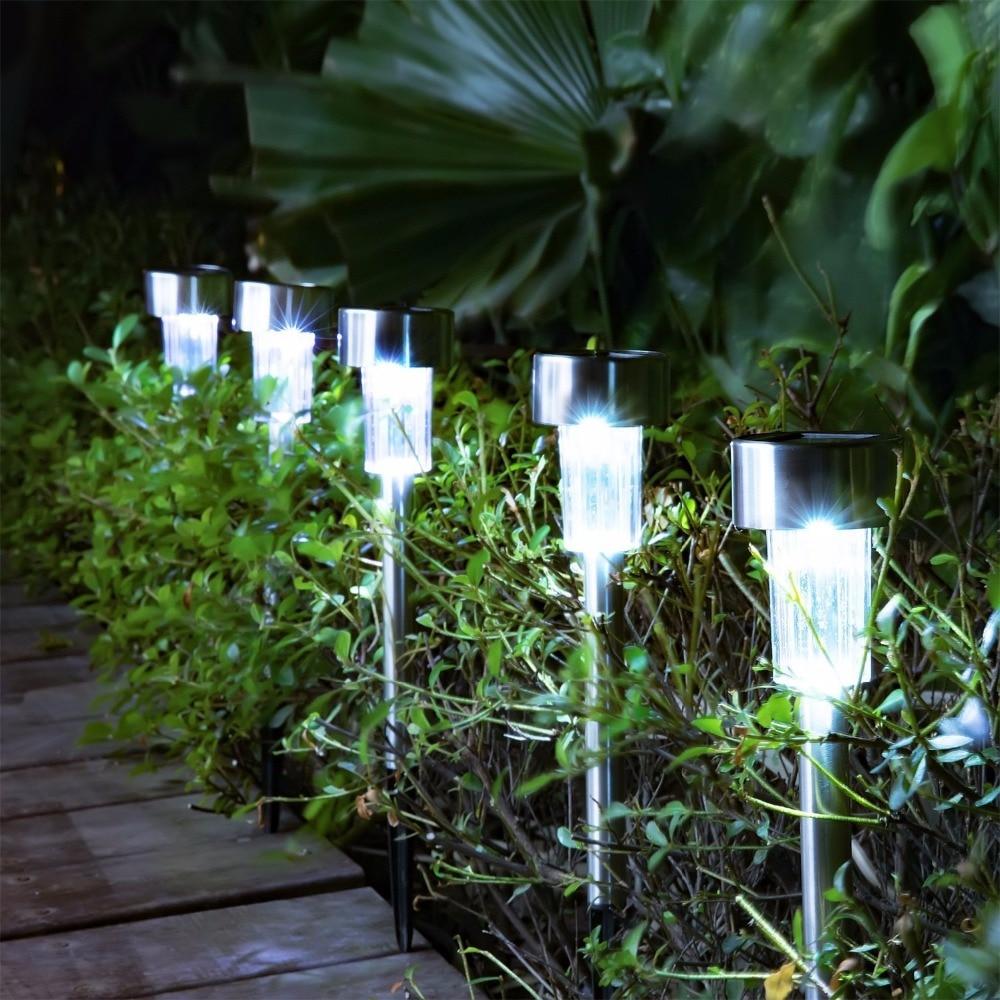 10PCS/5PCS Waterproof Solar Led Garden Lawn Lights Outdoor Ground Garden Light Solar Path Lawn Lighting Lamp Stainless Steel