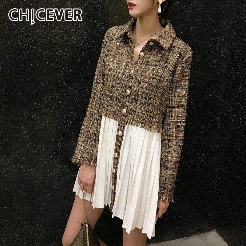 CHICEVER 2019 Autumn Patchwork Chiffon Dresses Women Lapel Long Sleeve Single Breasted Tassel Pleated Dress Female