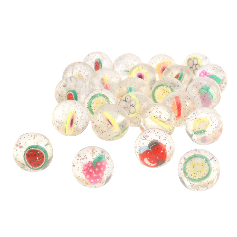 FBIL-100Pcs/Set Kids Toy Ball Mixed Bouncy Ball Solid Floating Fruits Bouncing Child Elastic Rubber Ball Pinball Bouncy Toys