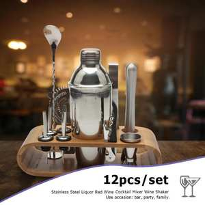 VKTECH 12pcs/set Stainless Steel Cocktail Shaker Drink Bar