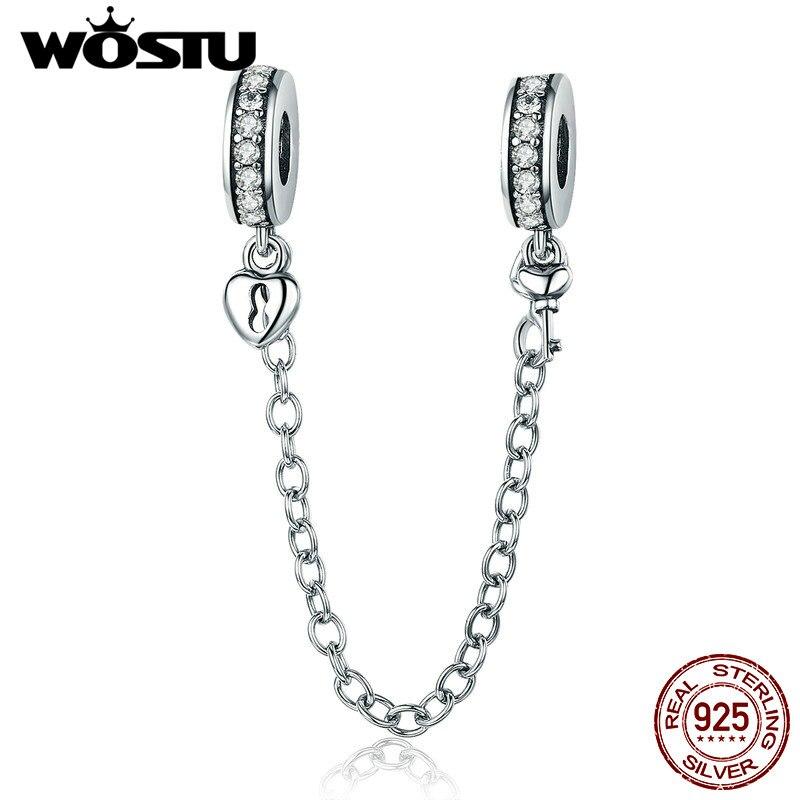 Браслет CQC606, 100% стерлингового серебра 925 пробы с ключом к сердцу, силиконовая безопасная цепь с шармом, подходит для Wostu, оригинальные шарики, ювелирных изделий