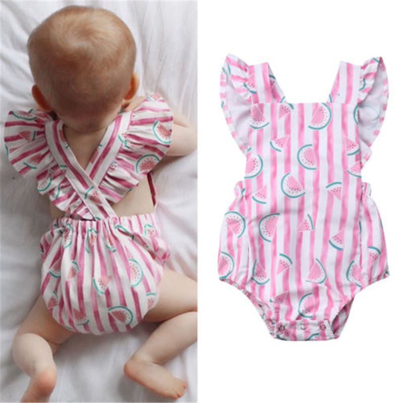 UK Toddlers Newborn Infant Baby Girls   Rompers   Clothes Playsuit Jumpsuit New Baby Girl Clothes Stripe Watermelon Printed   Romper