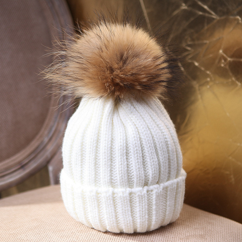 2019 New Women Winter Wool Hat Faux Rabbit Fur Ball Beanie Knit Warm Hat Cap 8 Colors