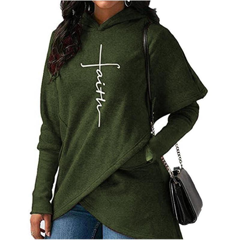 2019 de moda carta fe impresión sudadera Harajuku mujeres otoño bordado sudaderas con capucha de las mujeres jóvenes creativo Jersey Plus tamaño 5XL