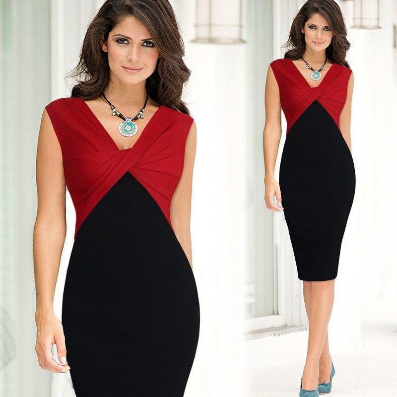 2019 nouveau Style chaud femmes robe col en v sans manches couleur panneau fente-dos Sexy robe d'été