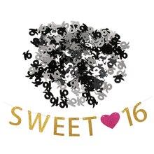 Vintage guirnalda de cumpleaños dulce 16 corazón fiesta Banner decoraciones edad 16 16th tabla confeti Scatters Accesorios