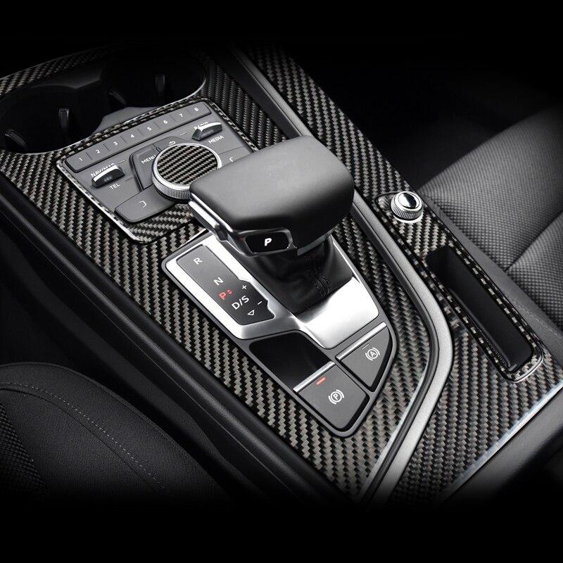 Для Audi a4 b9 RS4 S4 внутренняя отделка из углеродного волокна Шестерни управление переключением передач Панель крышка Стикеры LHD RHD автомобиля ...